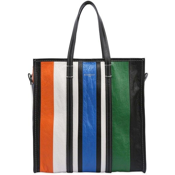 Balenciaga Women Medium Bazar Striped Leather Tote Bag (176360 ALL) ❤ liked on Polyvore featuring bags, handbags, tote bags, stripe tote bag, striped tote bag, leather tote, white tote and white tote bag