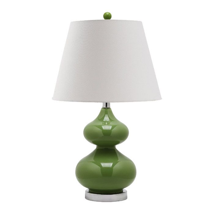 Glass Table Lamp In Fern Green With A Double Gourd Silhouette And Tapered Cotton Shade Product Set Of 2 LampsCons