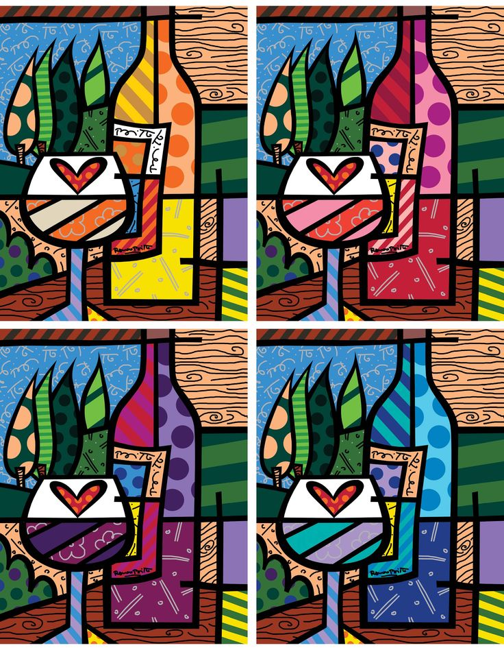 "WINE WINE (2006) Four Color Series, 36"" x 28"" Giclee on canvas, hand embellished by Romero Britto."