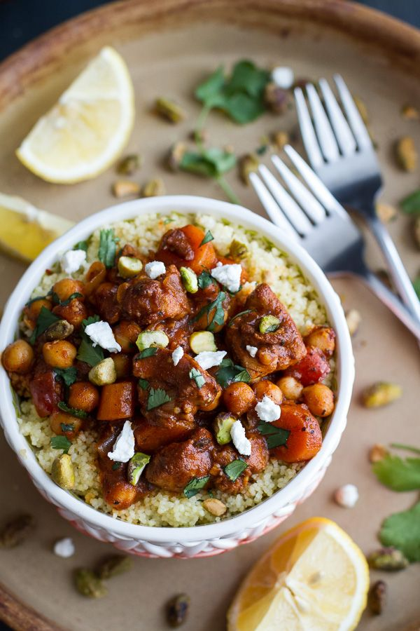 One Pot Moroccan Chicken + Chickpeas with Pistachio Couscous and Goat Cheese BY halfbakedharvest: One Pot Moroccan Chicken + Chickpeas with Pistachio Couscous and Goat Cheese. Ready in 30 Minutes with a Vegan Option. #Chicken #Chickpeas #Couscous #One_Pot