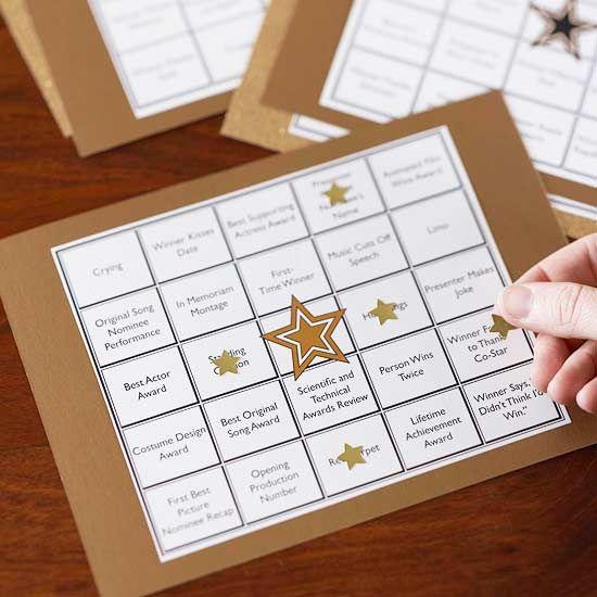 Oscar bingo. How great is that?!: Bingo Cards, Oscars Night, Oscars Parties, Night Parties, Gold Stars, Parties Ideas, Movies Night, Party Ideas, Parties Games