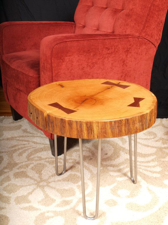 oak end table with handcrafted walnut butterfly by
