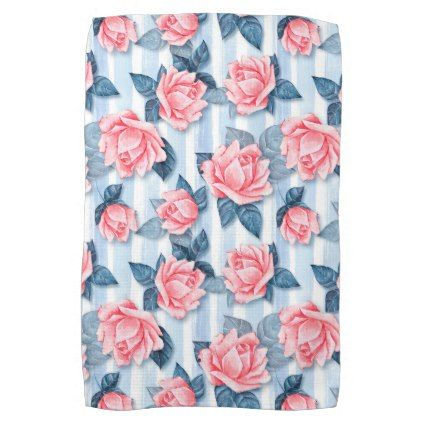 Roses on blue hand towel - rose style gifts diy customize special roses flowers