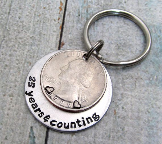 Anniversary Gift - Personalized KeyChain - Hand Stamped KeyChain - Couples Keychain - Personalized Quarter - 25th Anniversary Gift For Men