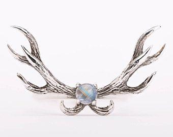 Herten gewei Ring Maansteen en Sterling Zilver verstelbare Ring Boho sieraden - FRI011