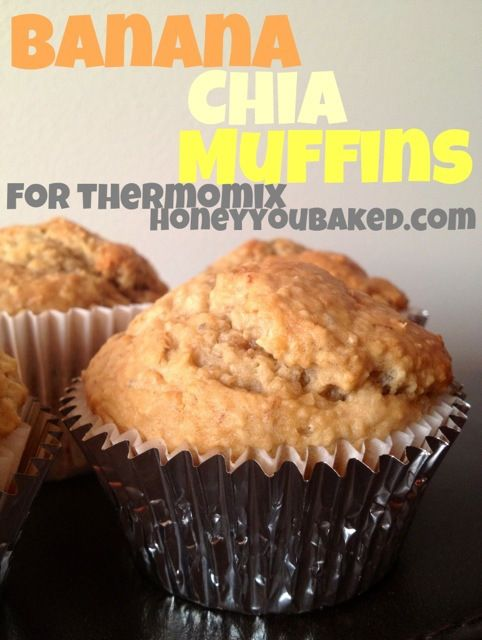 Banana & Chia seed muffins for #thermomix. I love to leave the rolled oats whole in this rather than milling them - gives an extra texture and #wholegrain goodness...
