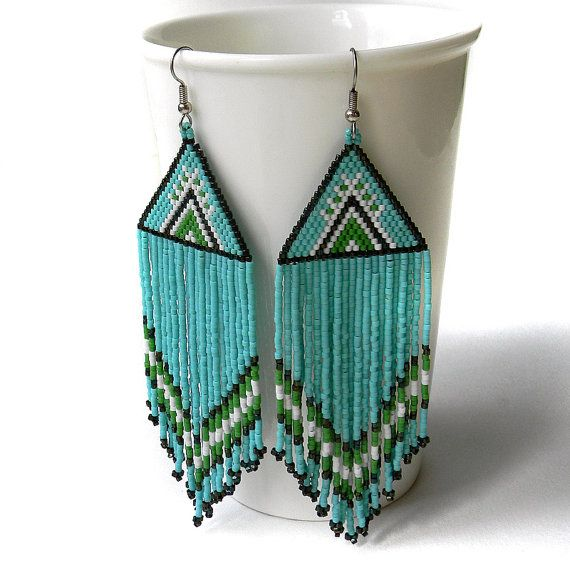 Large Turquoise beaded earrings beadwork jewelry by Anabel27shop
