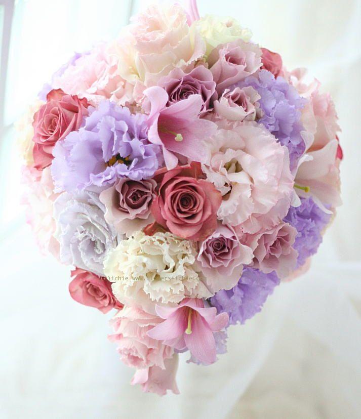 ブーケ ティアドロップ 紫~ピンク : 一会 ウエディングの花