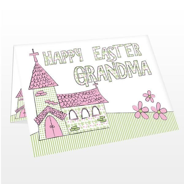 Personalised Whimsical Church Easter Card - The Hut Market - Personalised Gift Shop