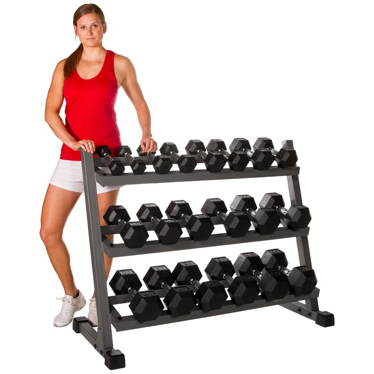 XMark 4 ft. Three Tier Dumbbell Rack XM-4439 Built for long lasting durability, this convenient and organized racking system keeps your exercise area clean and spacious while maintaining an attractive and sleek appearance. Featuring angled shelves for easy retrieval, this dumbbell rack holds a complete set of 5 lb. to 50 lb. dumbbells, 10 pair (not included). Sculpt, build and define your body with XMark. Features: Holds 5 lb. to 50 lb., 10 pair, of hex or round dumbbells Angled shelve...