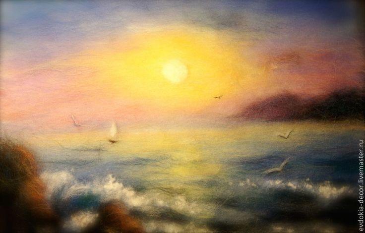 Купить Море ,море(картина из шерсти) - морской стиль, морской пейзаж, морская тематика, пейзаж