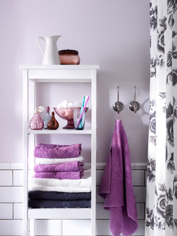 2014 Pantone Color of the Year - Radiant Orchid - HÄREN towels in a similar shade look fresh against white and gray.