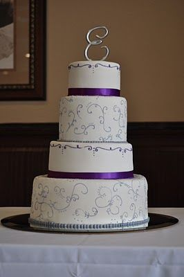 The Jenna Cake- purple and silver wedding cake