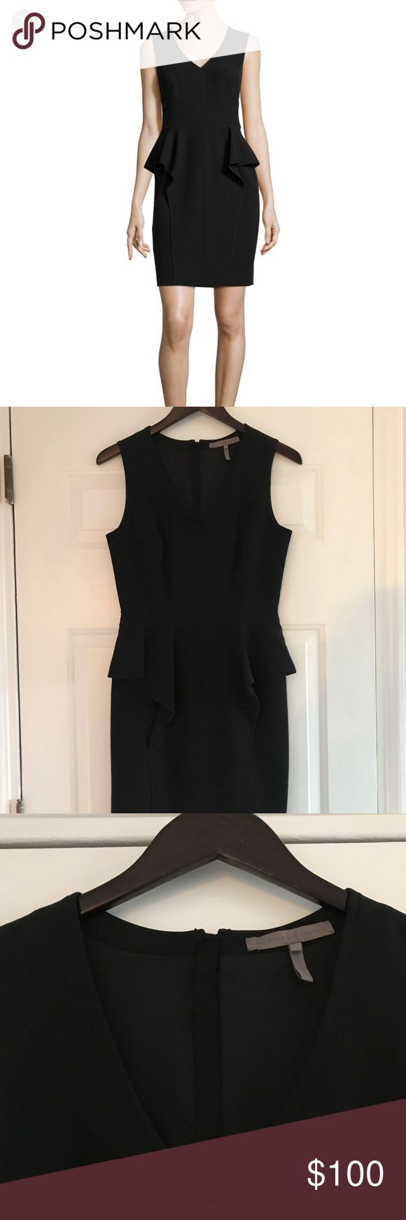 Halston Heritage Black Peplum Dress NWOT Never worn, beautiful and sophisticated cocktail dress. A flattering, flowy peplum around the hips and subtle seaming. Small slit in back. 37.5 inches from top of shoulder to hem, 28.5 inches from armpit to hem. Halston Heritage Dresses