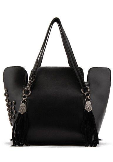 Skull Tassel PU Bag - Black @LookBookStore