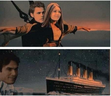 dammit Damon,leave my ship alone...Team Stefan <3 The Vampire Diaries #titanic #stelena #funny