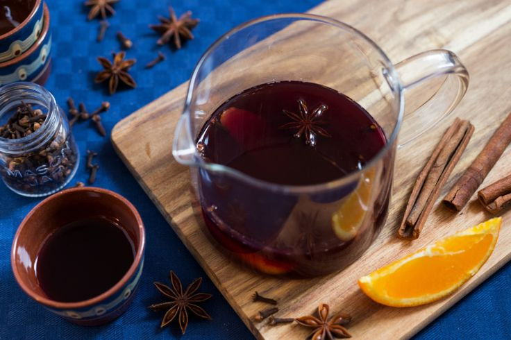 Home-made mulled wine featuring Italian red wine Dolcetto, cloves and cinnamon from Zanzibar and star anise from China.