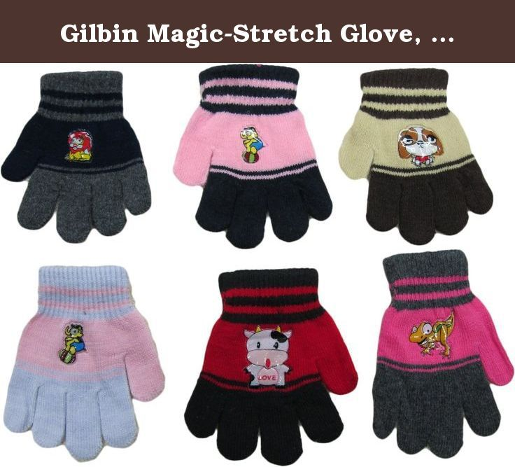 Gilbin Magic-Stretch Glove, Kids Size, with funny characters, 12 Pair. You wake up your cutie-pie by exclaiming that the first snow of the season has arrived......... now, little honey-bunch wants to go out and shovel the snow........ but what will be with those sweet little fingers?... All they need is warm, soft gloves to shield them from the cold.... But a funny character won't hurt.... One size fits most children. You will get an assortment of gorgeous colors. Machine wash. 95%…