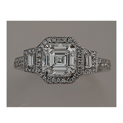 asscher cut art deco ring
