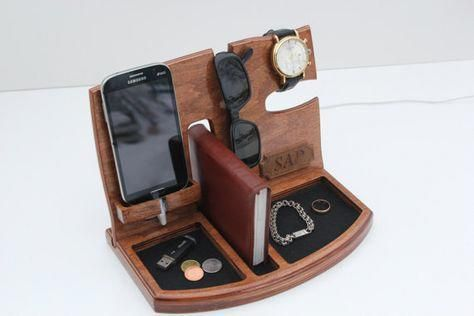 Wooden Charging Station, Gifts for men, Gift Ideas for Men, Mens valentines gift...