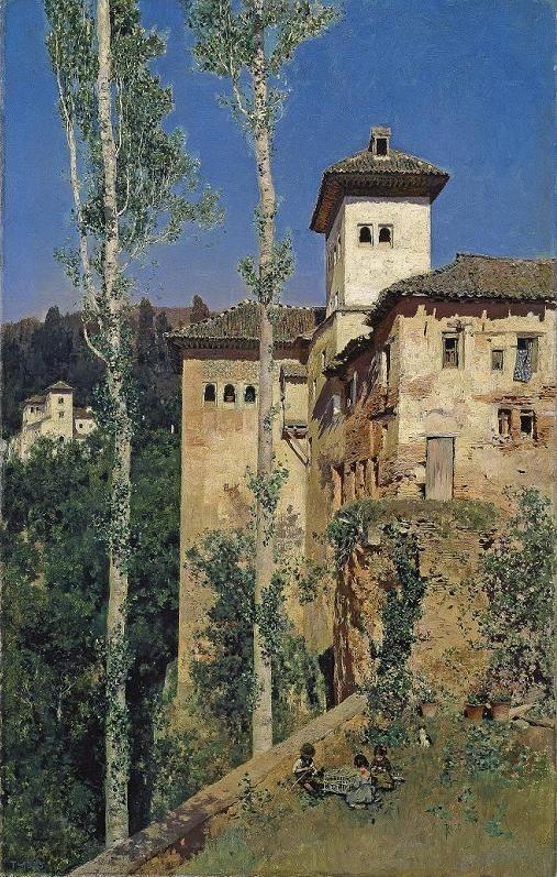 Martin Rico y Ortega. La torre de las Damas en la Alhambra de Granada. 1871