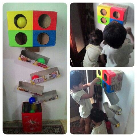 #cardboard #toy to learn about #colours and #gravitation #toddlers #activity