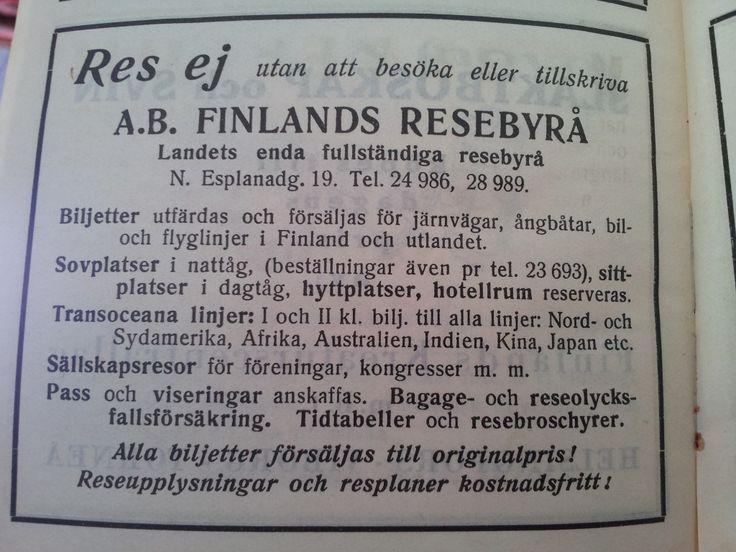 Res ej med Ab Finlands resebyrå. Varför inte?