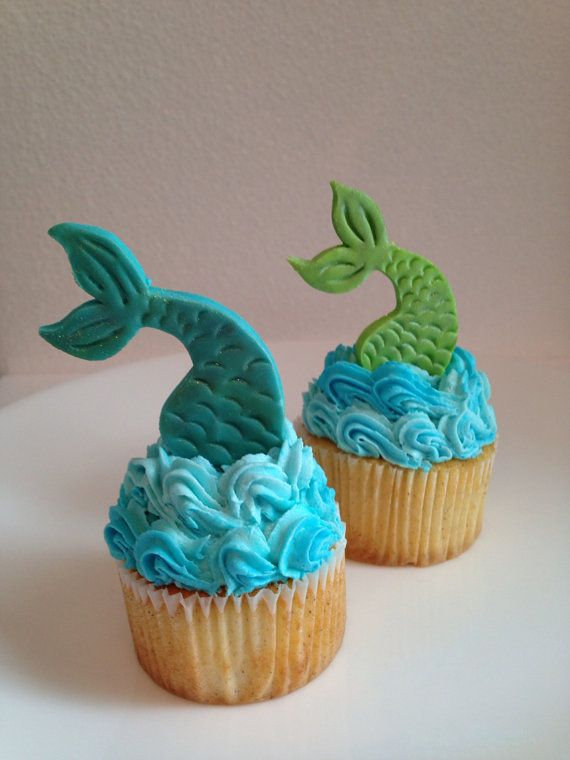 Frosting looks like water - fun! Mermaid Tail Fondant Cupcake Topper  one dozen by robin33smith, $18.95