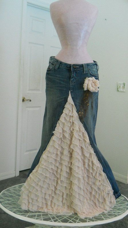 Belle Époque jean skirt creamy ruffled silk ultra by bohemienneivy, $150.00