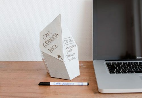 Smart replacement for desktop sticky notes. The Memo-Blocks by Dave Hakkens contain all of your notes into one, geometric block that you can re-use over and over again making it less waste!