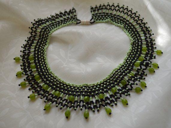 Bead Necklace in Green/Black - Handmade