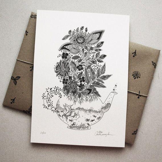 A4 Tea Pot Art print Botanical Artwork by MenisArt on Etsy