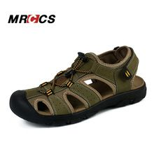 US $29.50 MRCCS Men's Summer Cool Sandals Non Slip Genuine Leather Soft Rubber Sole Beach Shoe Quality Casual Shoes Large Size 11. Aliexpress product