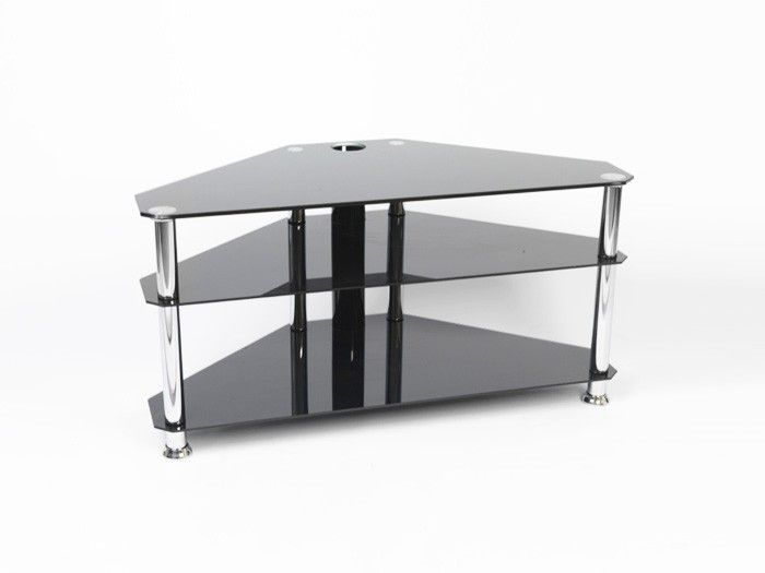 "Iconic Black Glass TV Stand - Up to 42"" - Gamba Chb42.   Suitable for televisions up to 42"" wide, this glass TV stand is in black glass with four chrome legs with a central tube for cable management with two shelves.  Dimensions: 950mm(w), 460mm(d), 480mm(h)  8mm top shelf 5mm lower shelves Tension rod construction Central tube for cable management  All our glass TV stands are compatible with most modern TVs.  Gamba Chb42."