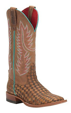 Anderson Bean Macie Bean Women's Toast & Honey Woven Square Toe Western Boots | Cavender's