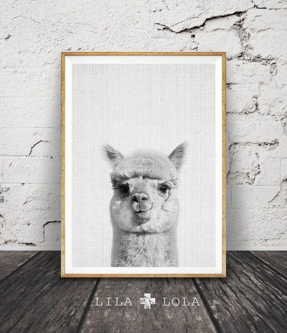 Alpaca Print, Decor van de kwekerij, Alpaca muur kunst, moderne minimalistische abstracte zwart-wit dieren Print, afdrukbare kunst, kwekerij de Print, grijs