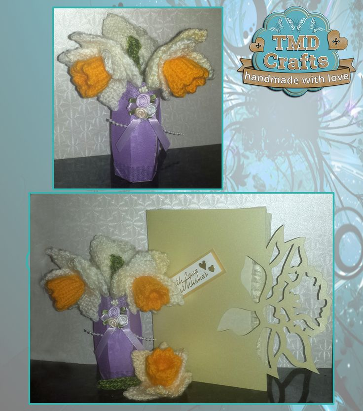 Handmade Small Card Vase £2.25 plus p&p Hand knitted daffodils on stems - set of 3 £5 plus p&p Hand knitted daffodil brooch £2.25 plus p&p All complete as a set £10 plus p&p made to order www.facebook.com/tmd-crafts #CraftersCavern #crafting #crafts #cardcrafts #knitting #daffodils #Easter #Mothersday