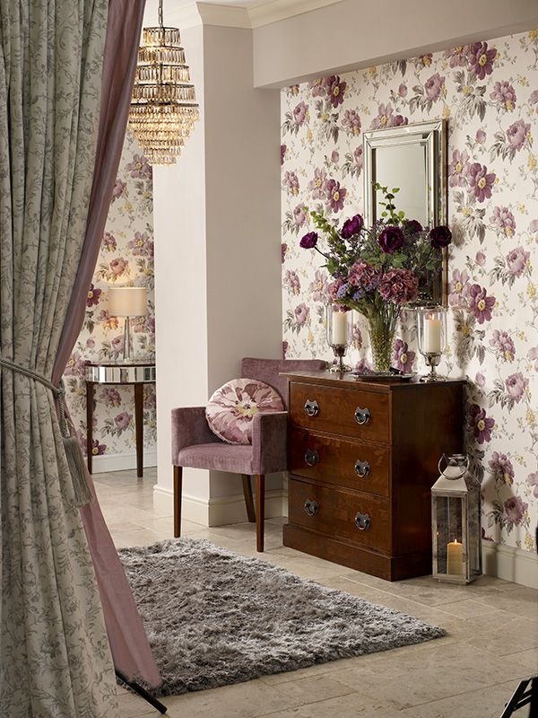 Peony Garden Amethyst from the Laura Ashley wallpaper collection.