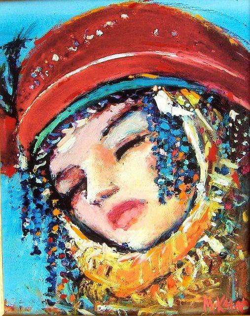 MUSTAFA ALİ KASAP - Türkish Artist Painter - AUTHENTIC EFE & ZEYBEK WOMAN PORTRAIT ART WORK Mixed media on canvas Tuval üzeri karışık teknik
