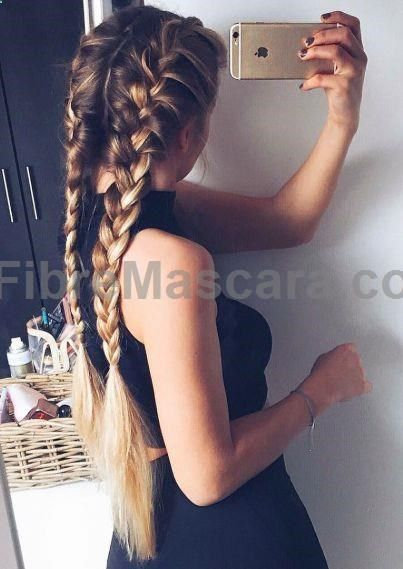 French braids for long hair inspiration | Ombre hair color | Braids hairstyles for school | Braided hairstyles