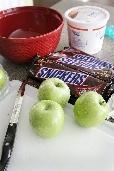 """""""Snickers Salad"""" - A potluck pleaser! 8 oz. chream cheese softened, 1 C powdered sugar, 12 oz Cool Whip, 6 snicker bars, 4-6 Granny Smith apples. Yum!"""