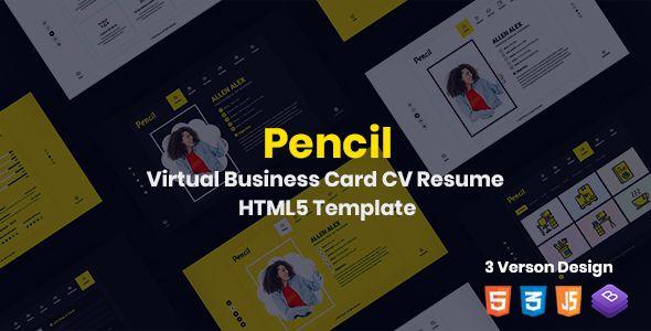 Pencil Virtual Business Card Cv Resume Html Template Stylelib Personal Resume Html Templates Templates