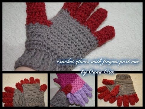 ▶ crochet gloves with fingers part one - YouTube