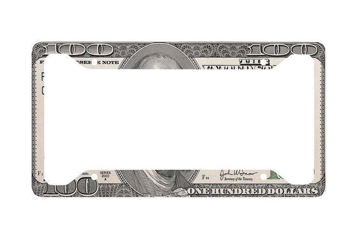 Hundred Dollar Bill License Plate Frame, Hundred D…