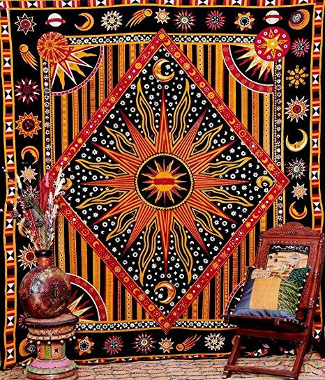 Indian sun moon Diamond wall hanging hippy tribal tapestry wall throw (240x220 cms) by Craftozone