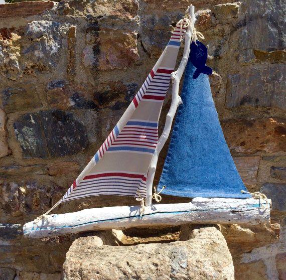 Sailboat Driftwood boat yacht sailing decor by hippiefishbeachart