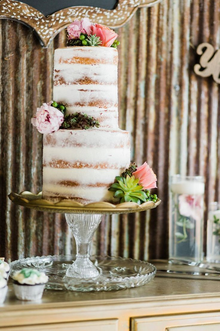 Romantic Chic Barn Wedding Inspiration - Naked cake with succulents