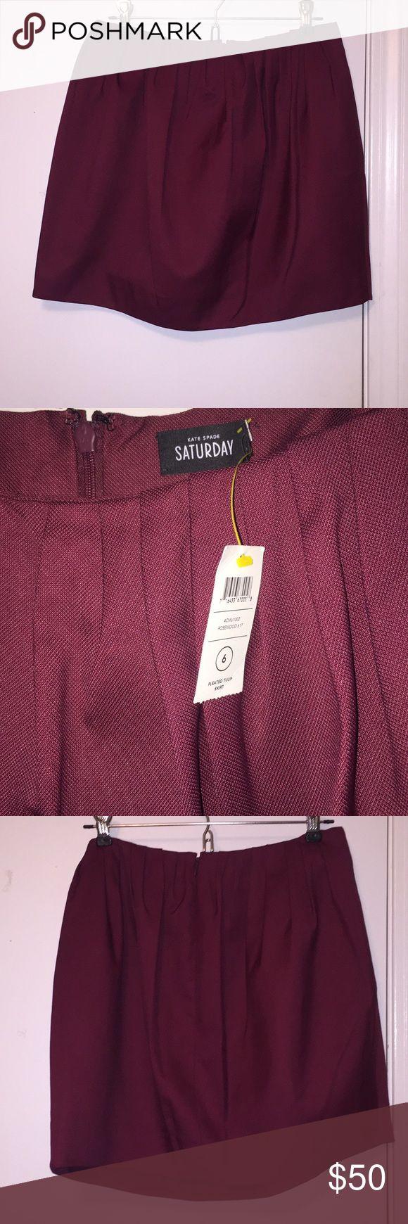 NWT Kate Spade Saturday Skirt NWT Kate Spade Saturday Burgundy Tulip Skirt, size 6 Kate Spade Saturday Skirts