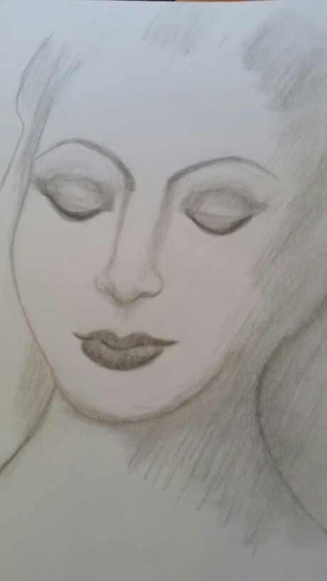 Downwards glance lady in graphite