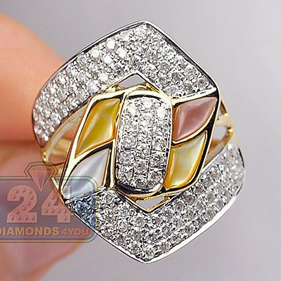 14K-Yellow-Gold-1-48-ct-Diamond-Pave-Opal-Womens-Flower-Cocktail-Ring